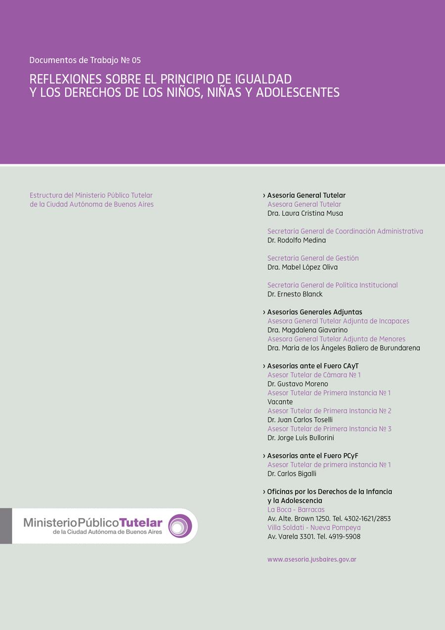 DT Nº 5 - Reflexiones sobre el Principio de Igualdad y los derechos de los Niños, Niñas y Adolescentes